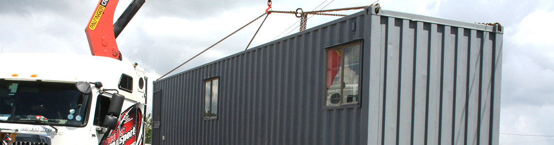 Delivery of container converted into a site office